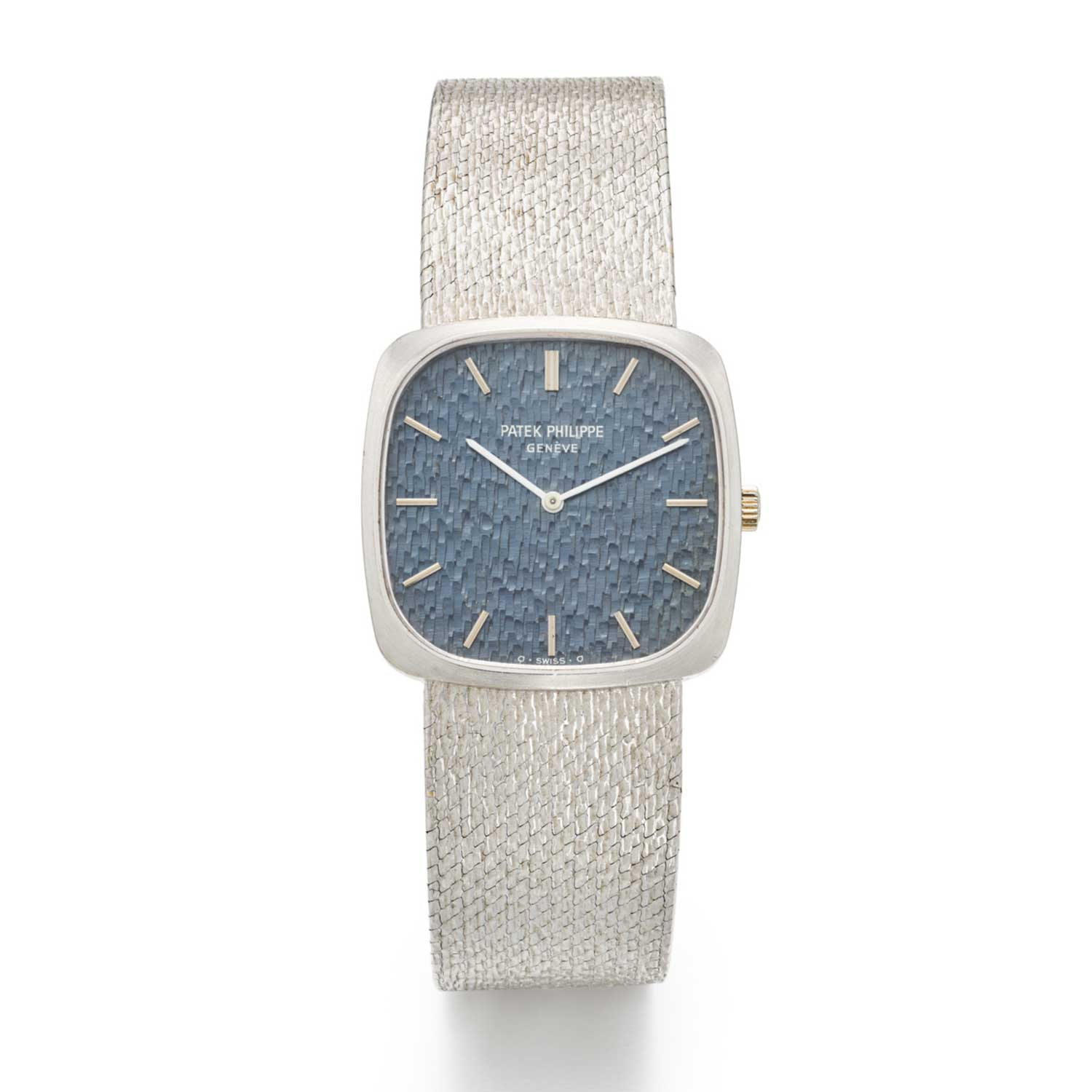 Lot 457: Patek Philippe Ref. 3566-1, Blue Structured Dial; 18K White Gold