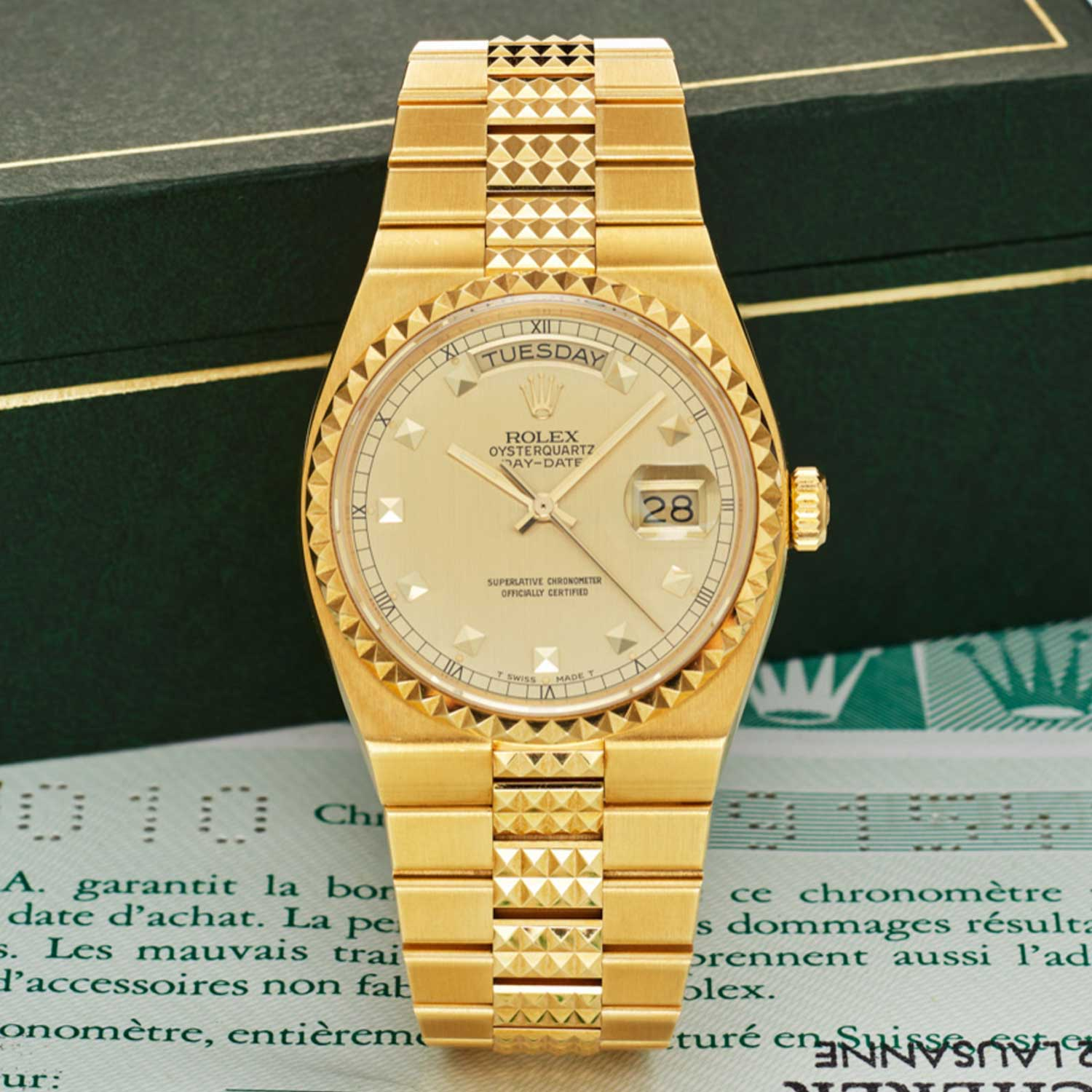 "Lot 334: Rolex Ref. 19028; ""Oysterquartz Day-Date""; 18K Yellow Gold"