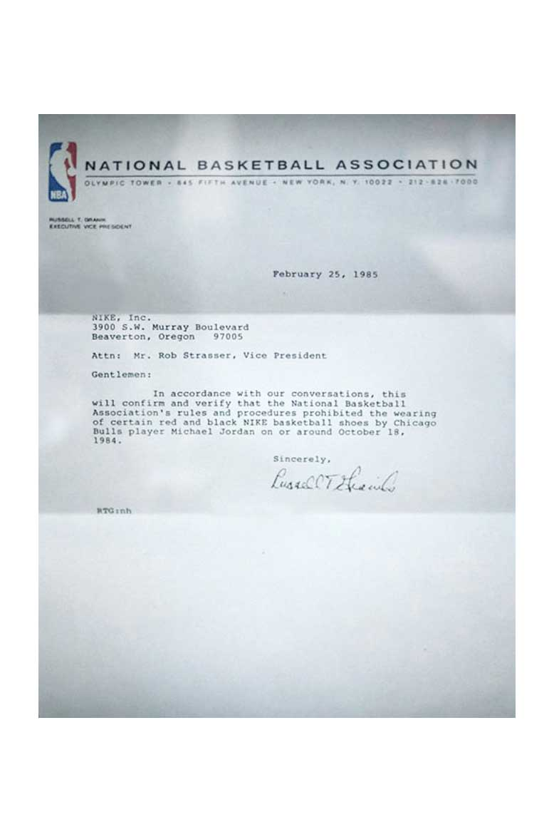The letter that David Stern wrote to Nike regarding Jordan's prototype shoes (Image source: solecollector.com)