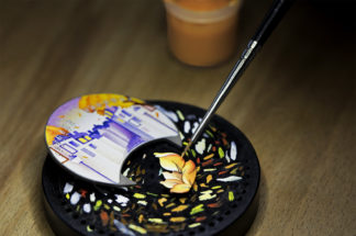 Miniature painting on the Pont des Amoureux Autumn dial. Image by Johann Sauty.