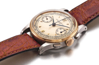 Lot 470: Patek Philippe Ref. 130. Stainless-steel and yellow gold chronograph wristwatch, made in 1941