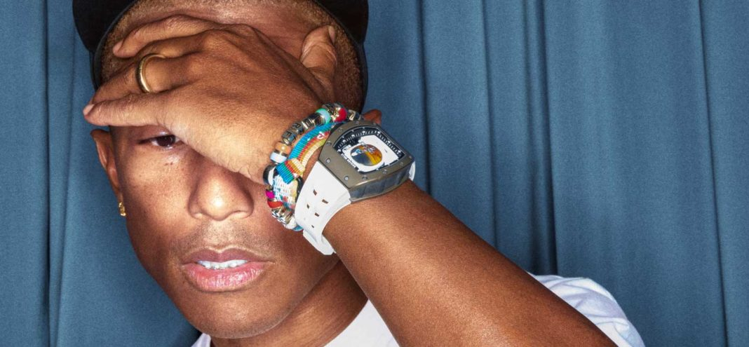 Pharrell Williams with the Richard Mille RM 52-05 Tourbillon Pharrell Williams on his wrist (Image: Robert Jaso)
