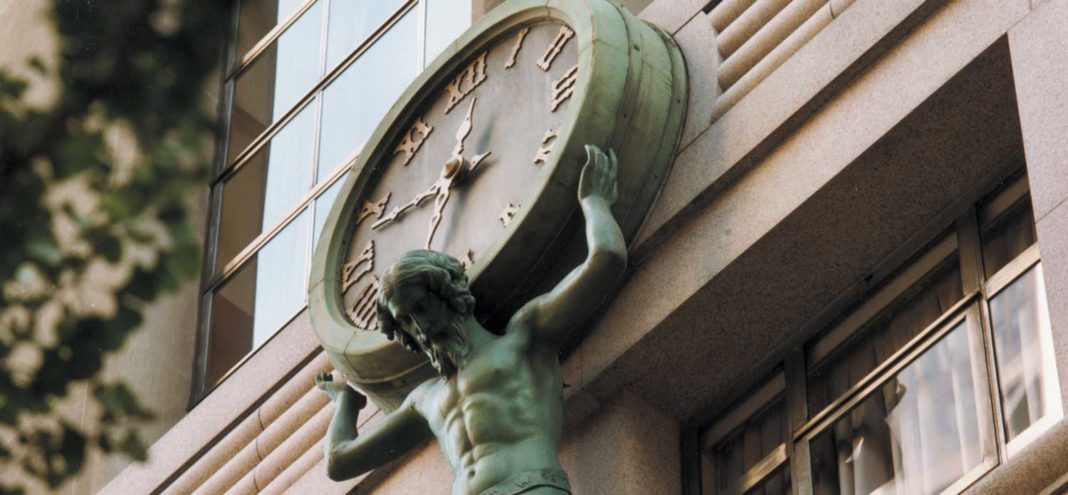 The Atlas clock that stands over the entrance to Tiffany's flagship store on Fifth Avenue in New York