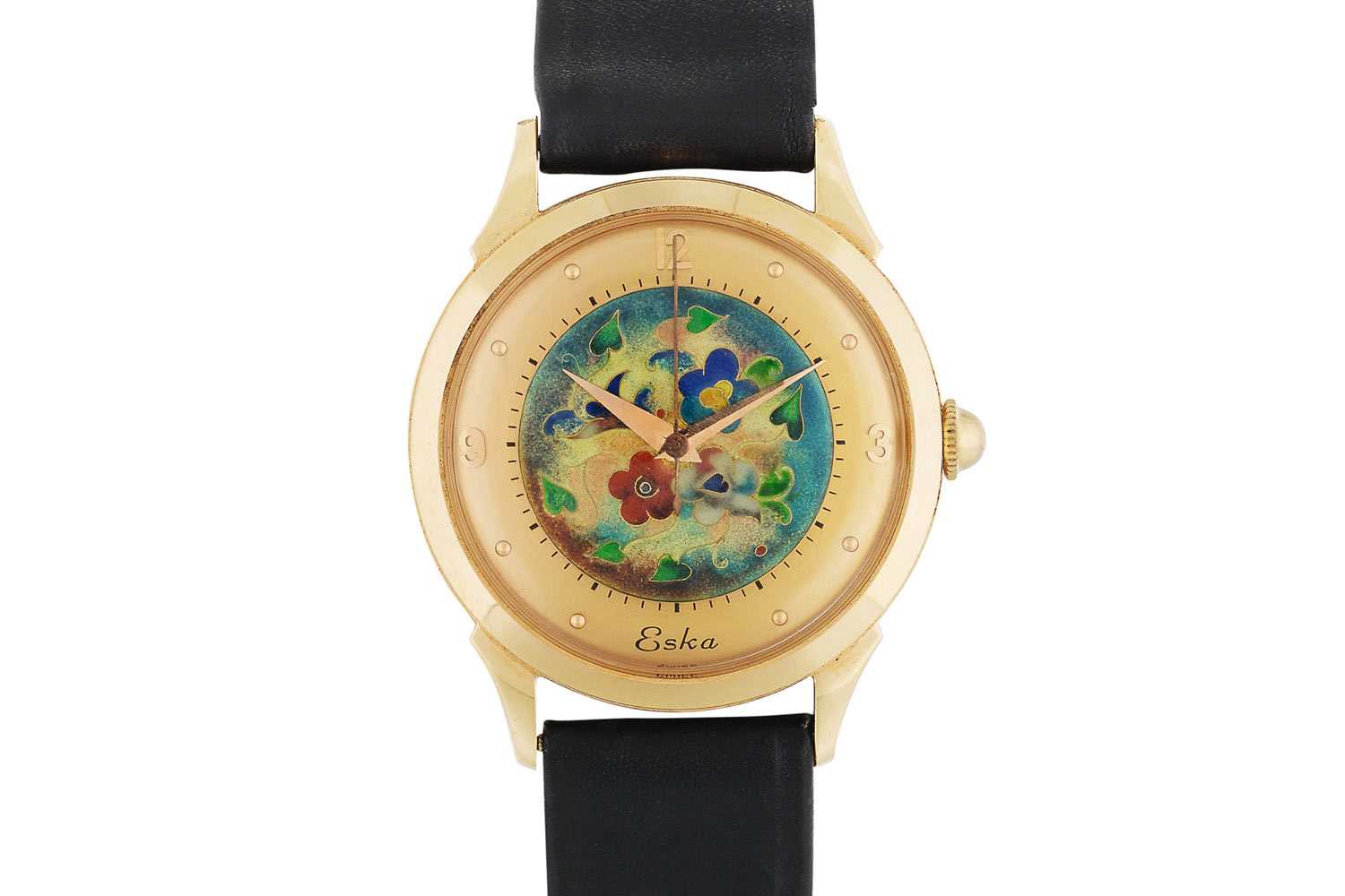 Lot 454: Eska. Pink gold wristwatch with cloisonné enamel dial, circa 1950