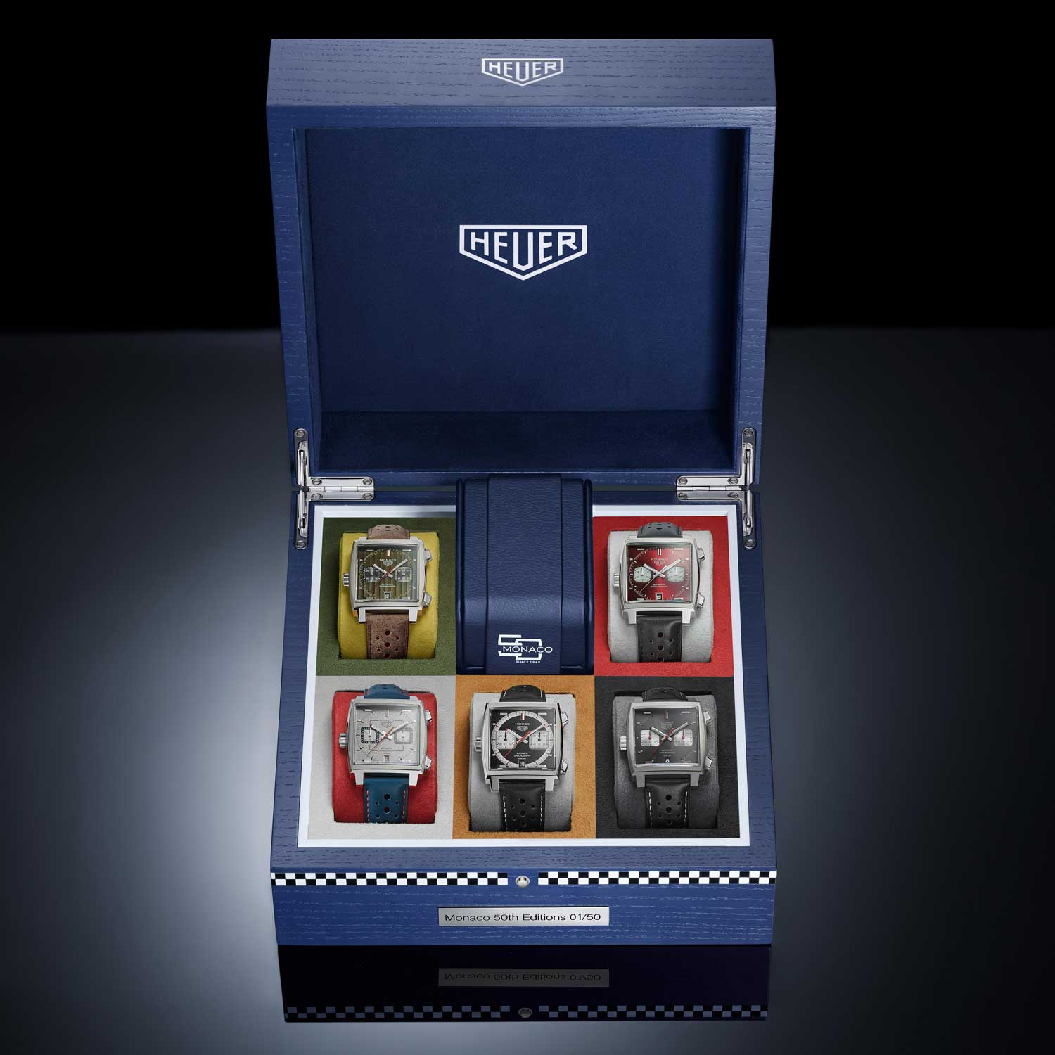 The complete TAG Heuer Monaco limited edition series created for the watch's 50th Anniversary