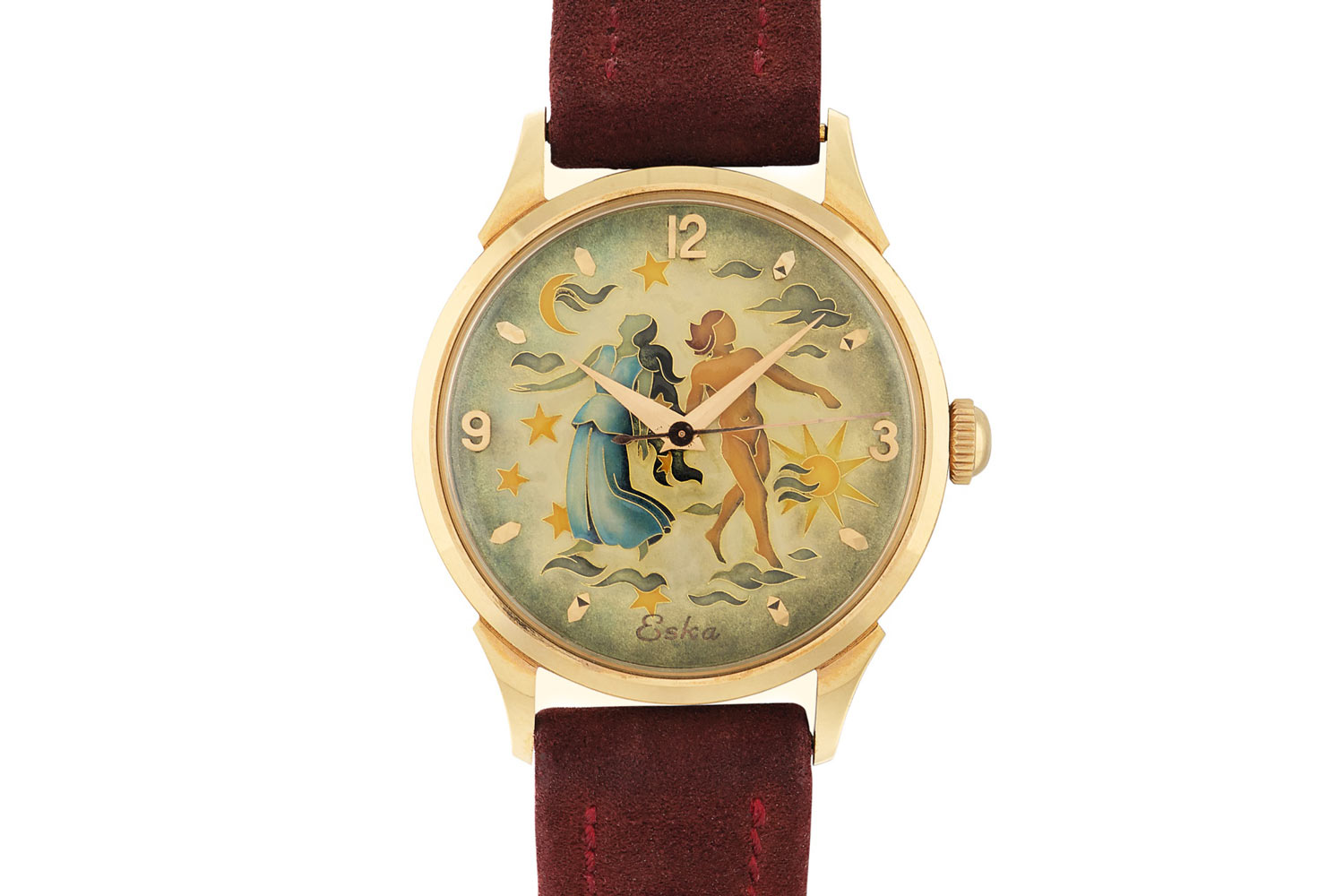 Lot 455: Eska. Pink gold wristwatch with cloisonné enamel dial, circa 1950