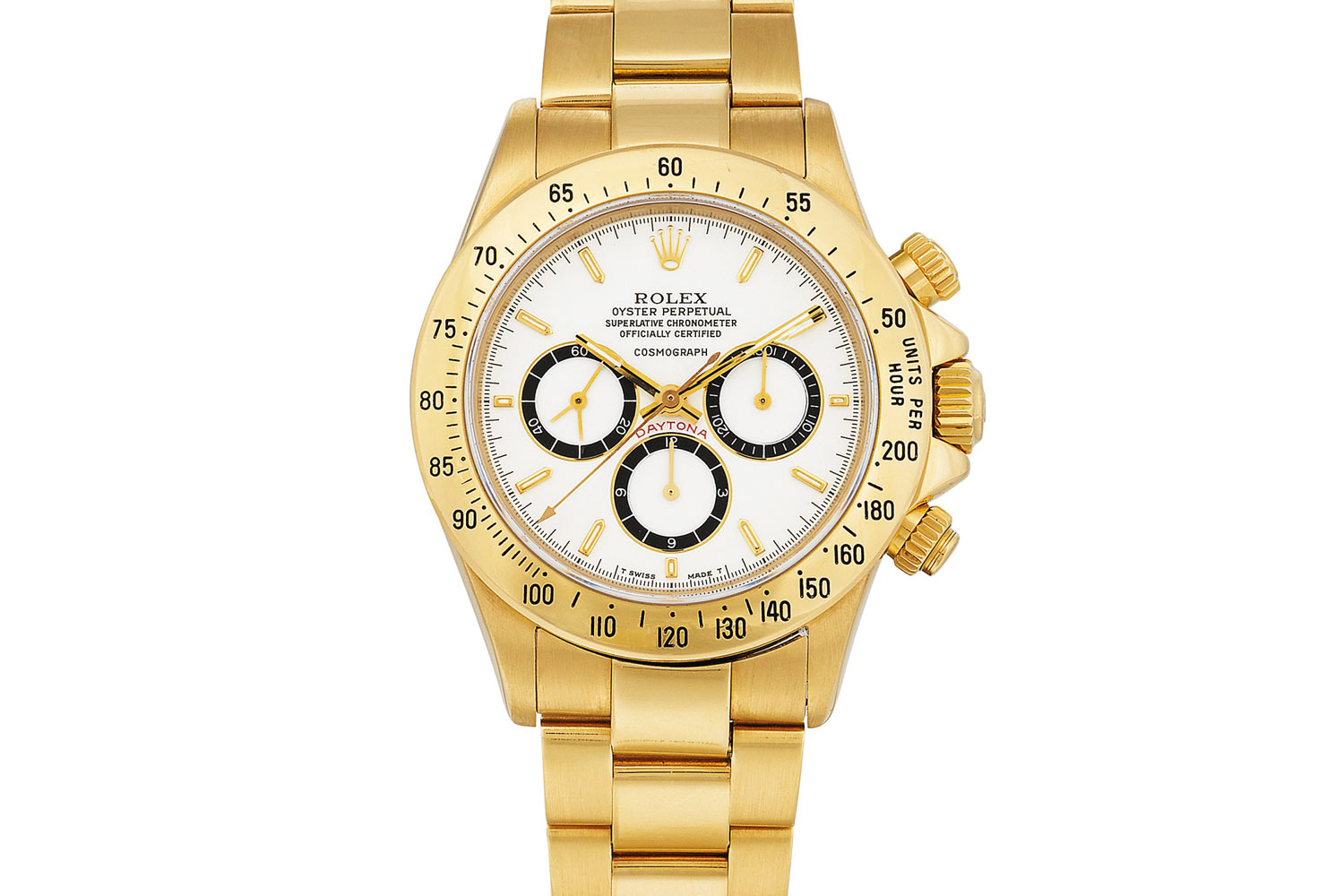 Lot 255: Rolex 'Floating Cosmograph Zenith' Daytona Ref. 16528. Yellow gold chronograph wristwatch with bracelet, white 'porcelain' dial and suspended logo, circa 1988