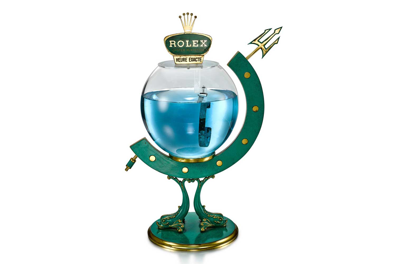 Lot 8126: Rolex - The trident fish bowl, reference 313. A gilt brass and green enamel retailer's window display, circa 1960