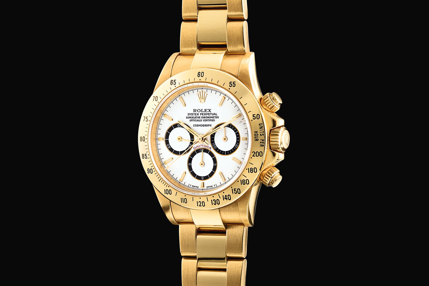 Lot 310A: Rolex 'Floating Cosmograph Zenith' Daytona Ref. 16528. Yellow gold chronograph wristwatch with bracelet, circa 1988