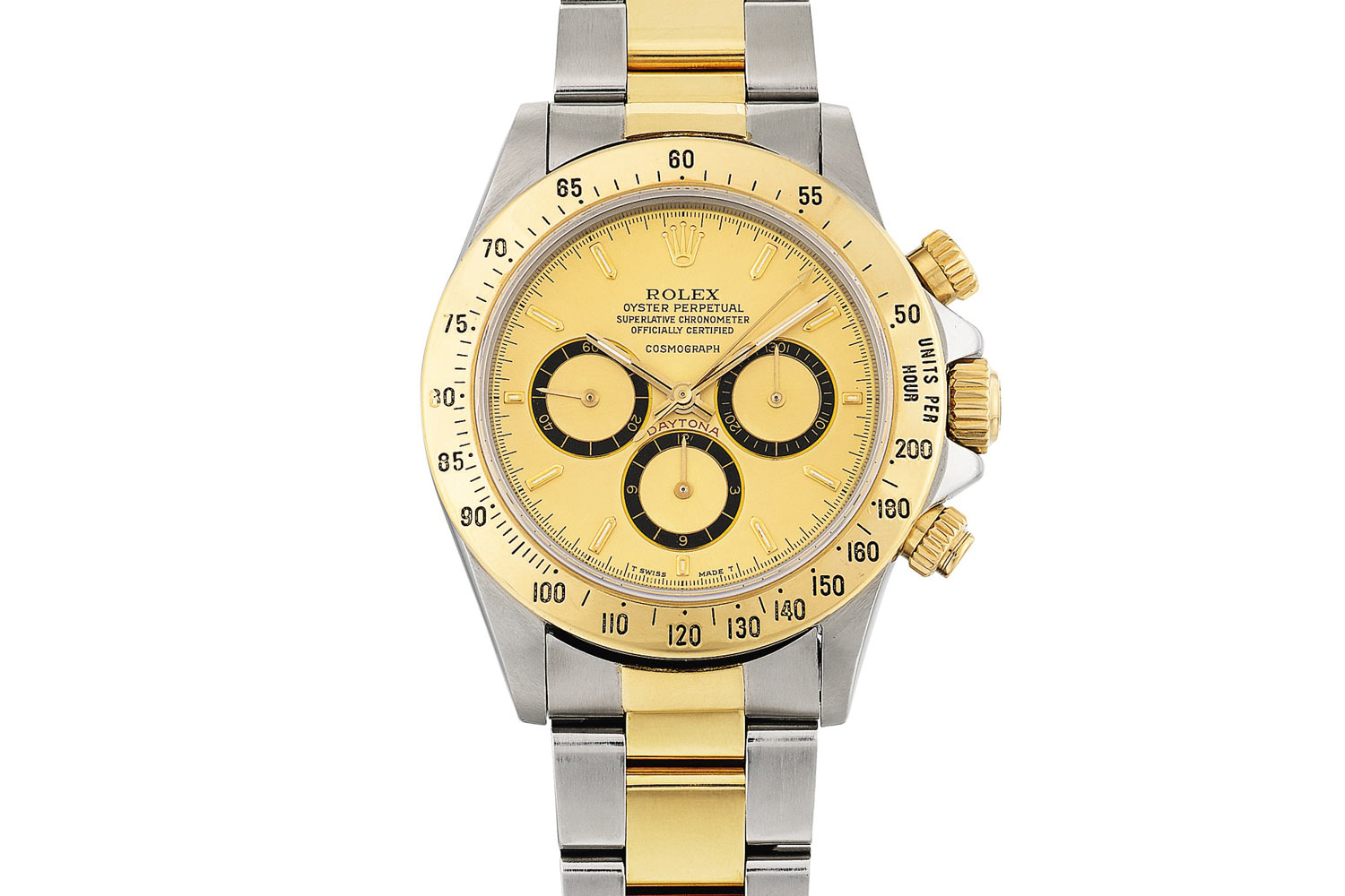 Lot 371: Rolex 'Floating Cosmograph Zenith' Daytona Ref. 16523. Stainless-steel and yellow gold chronograph wristwatch with bracelet, circa 1988