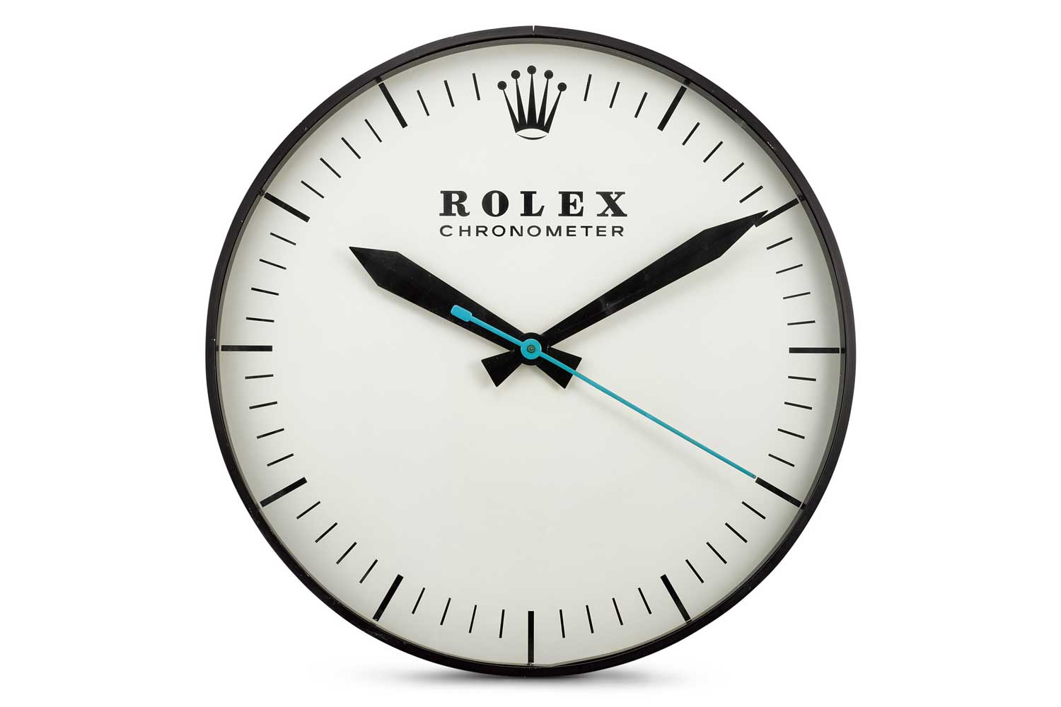 Lot 8128: The Ohio Advertising Display Co. for Rolex - Referrence G-062, a large blackened metal wall clock, circa 1965