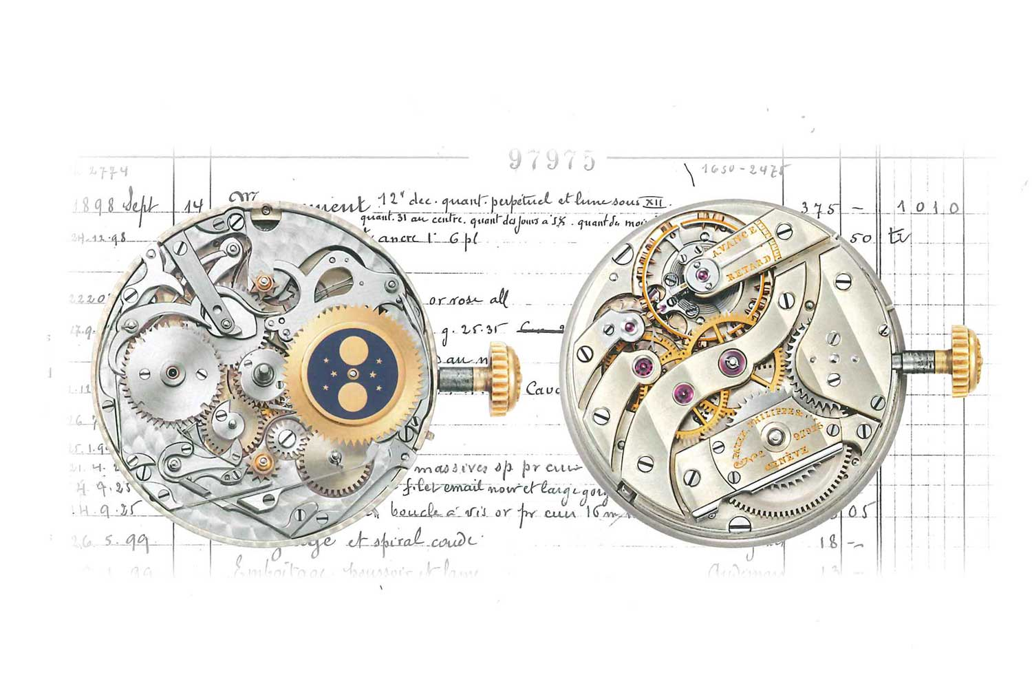 An illustration of the movement inside of the Patek Philippe 97975: The First Wristwatch with Perpetual Calendar (Image © Patek Philippe)