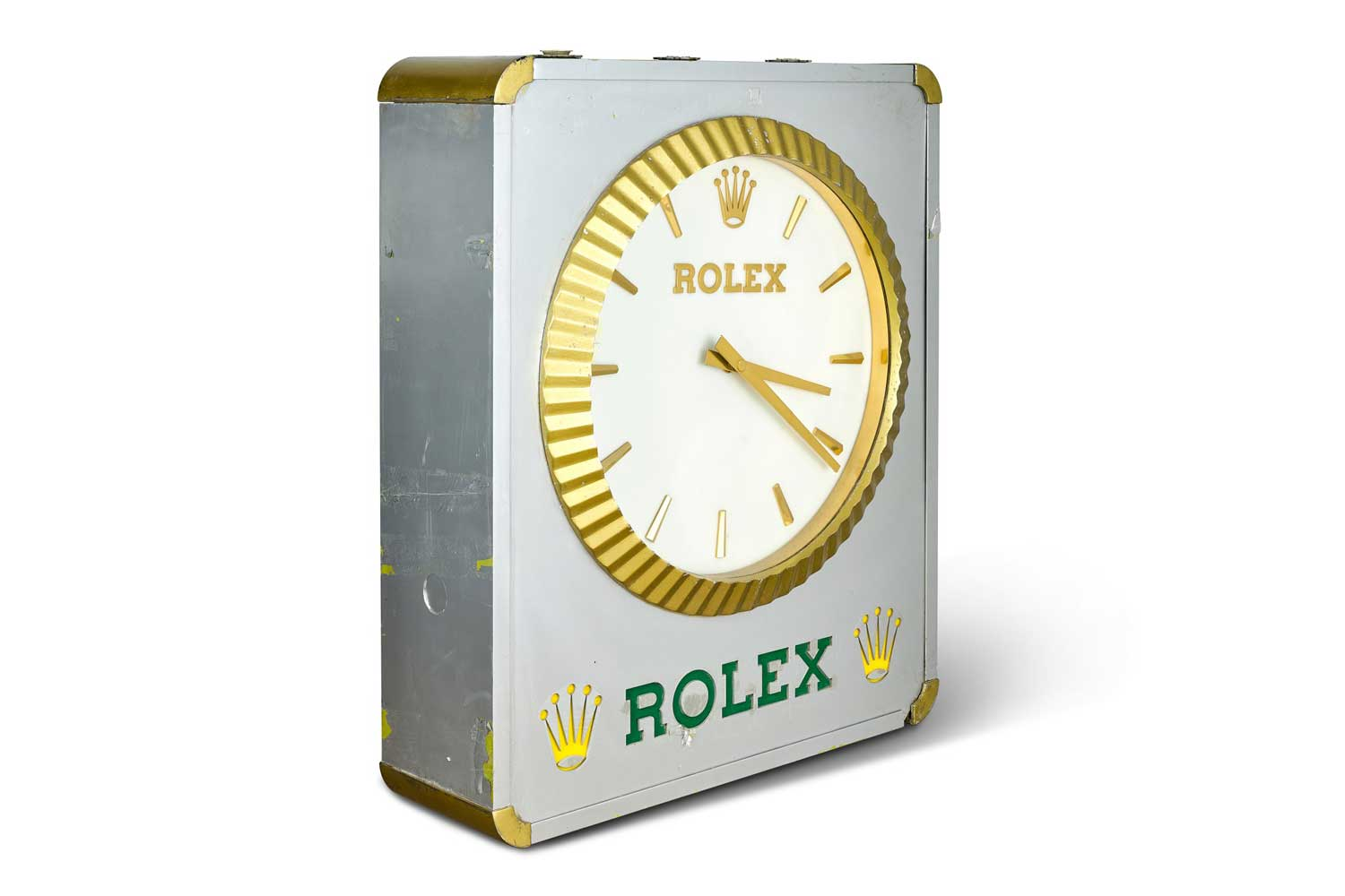Lot 8088: Rolex - A stainless steel and brass building sign clock, circa 1970