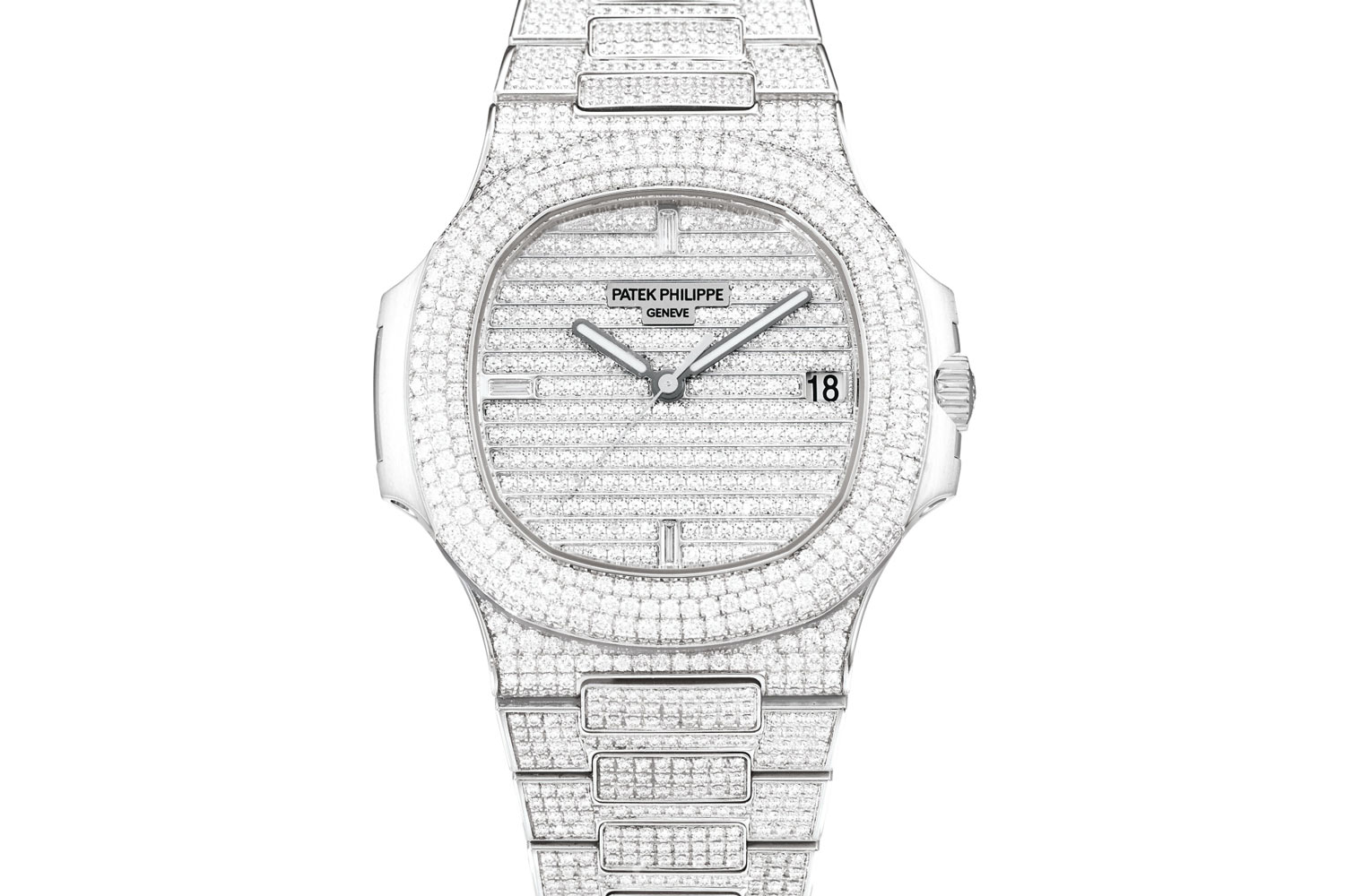 Lot 487: Patek Philippe Nautilus Ref. 5719/1G-001. White gold and diamond-set wristwatch with date and bracelet, circa 2016