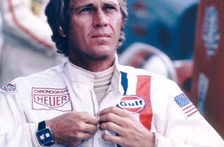 Steve McQueen wearing the Heuer Monaco in a scene from Le Mans (1971).