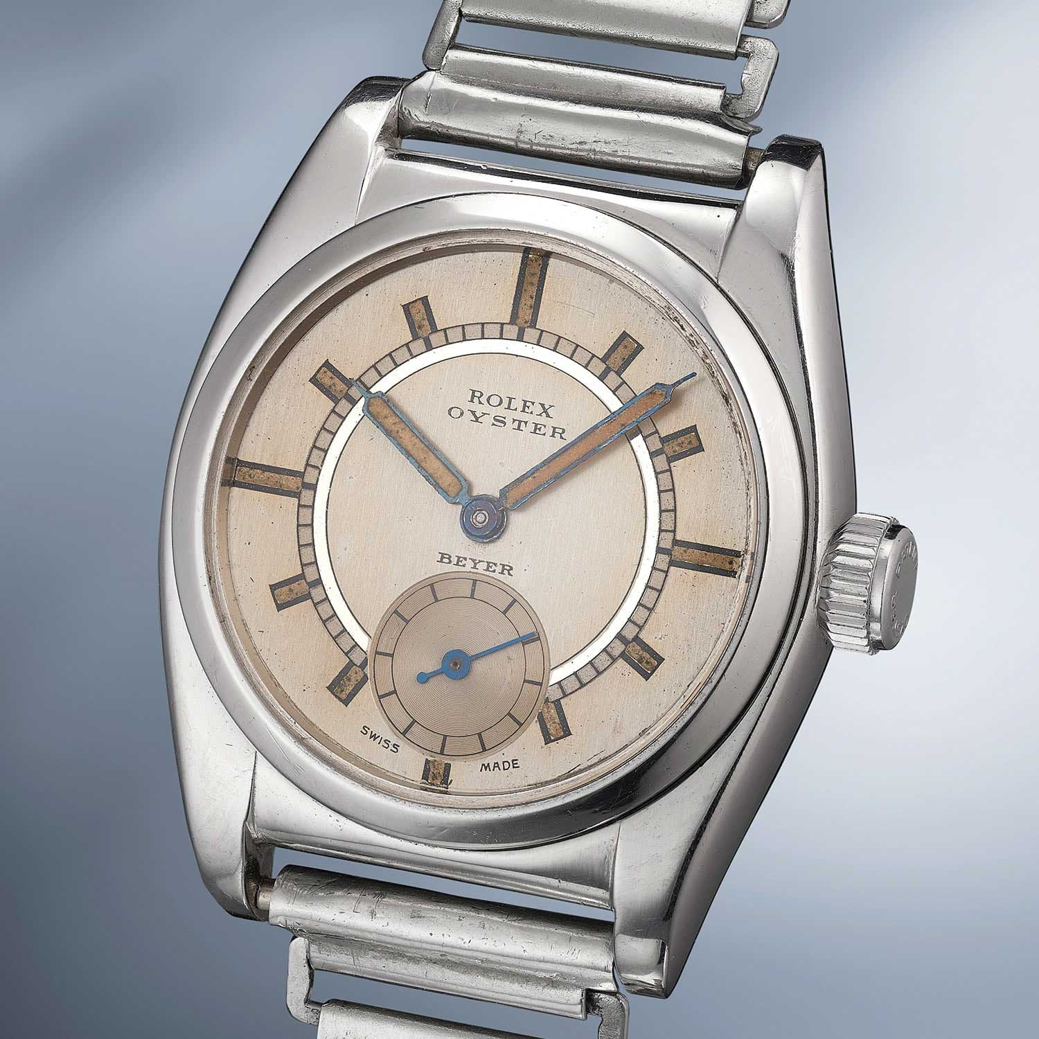 "Lot 6: Rolex. A rare, attractive and exceptionally well-preserved stainless steel wristwatch with ""bamboo"" bracelet"