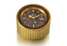 Lot 8115: Rolex - Reference 455, a Heavy Gilt Brass Display Desk Clock With Stop Feature And Date, Circa 1985