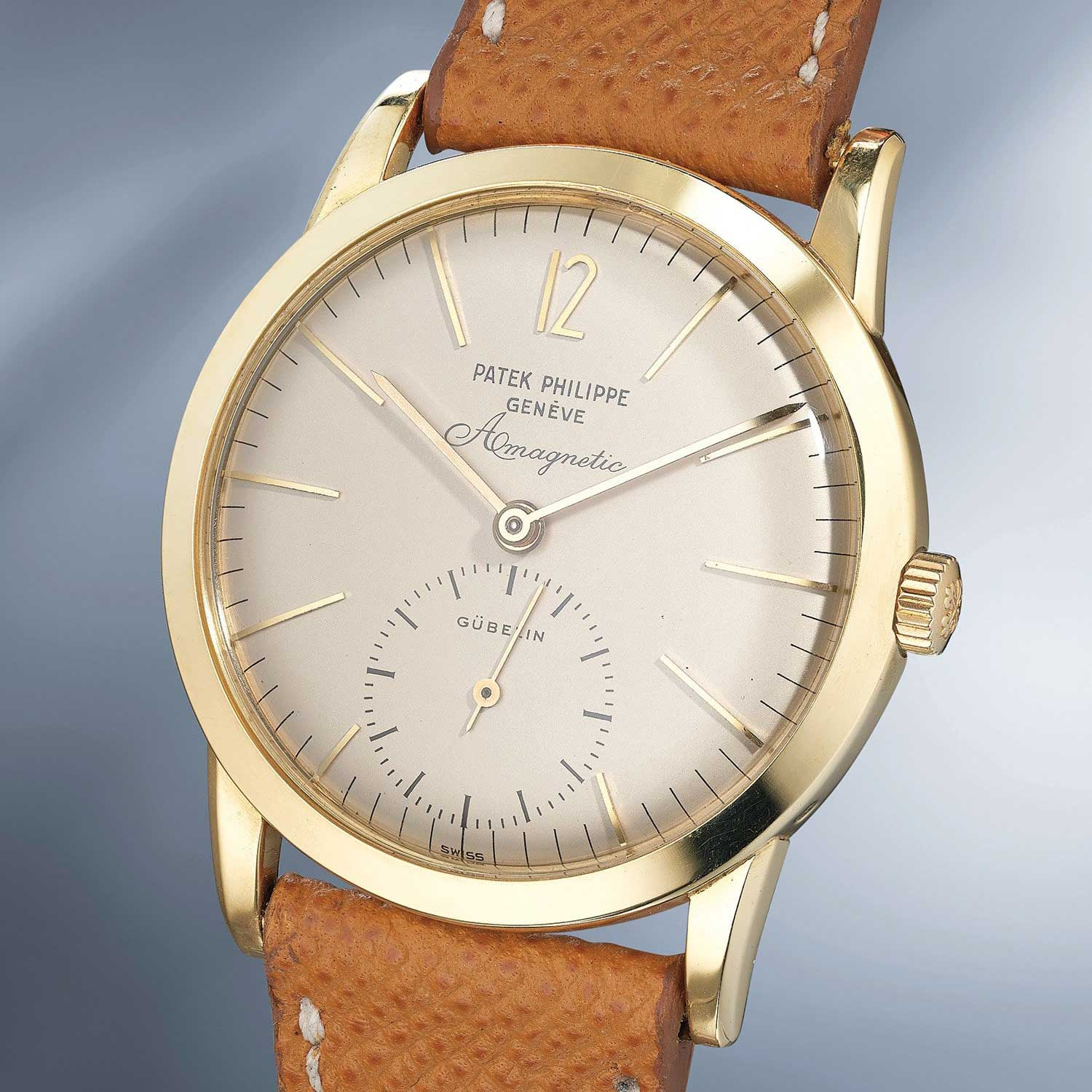 Lot 26: Patek Philippe Ref. 2570-1. An extremely rare and attractive anti-magnetic yellow gold wristwatch with elongated hour-markers
