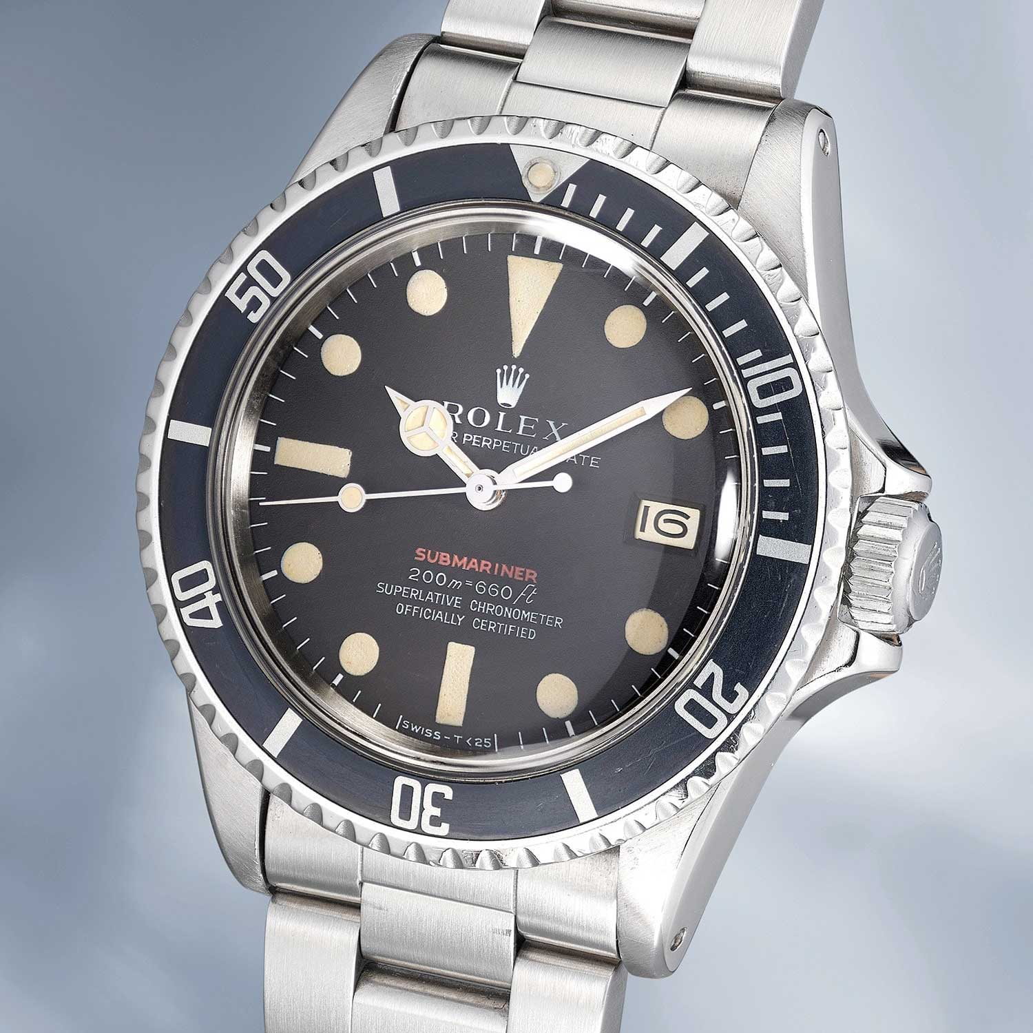 "Lot 53: Rolex Ref. 1680. A very rare stainless steel wristwatch with center seconds, date, MKII ""Single Red"" dial, bracelet, guarantee and box"