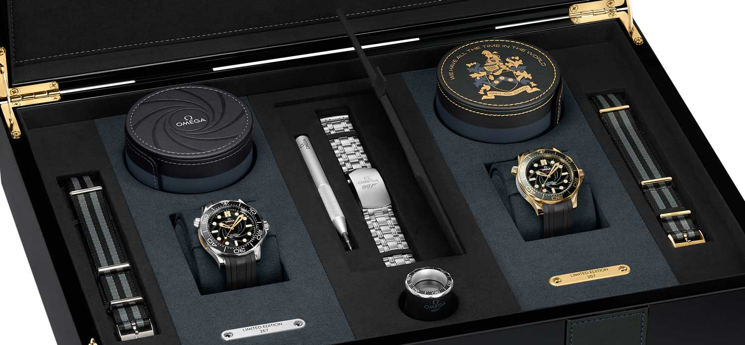OMEGA James Bond Limited Edition Set including the 42mm stainless steel and 18K yellow gold Seamaster Diver 300M watches