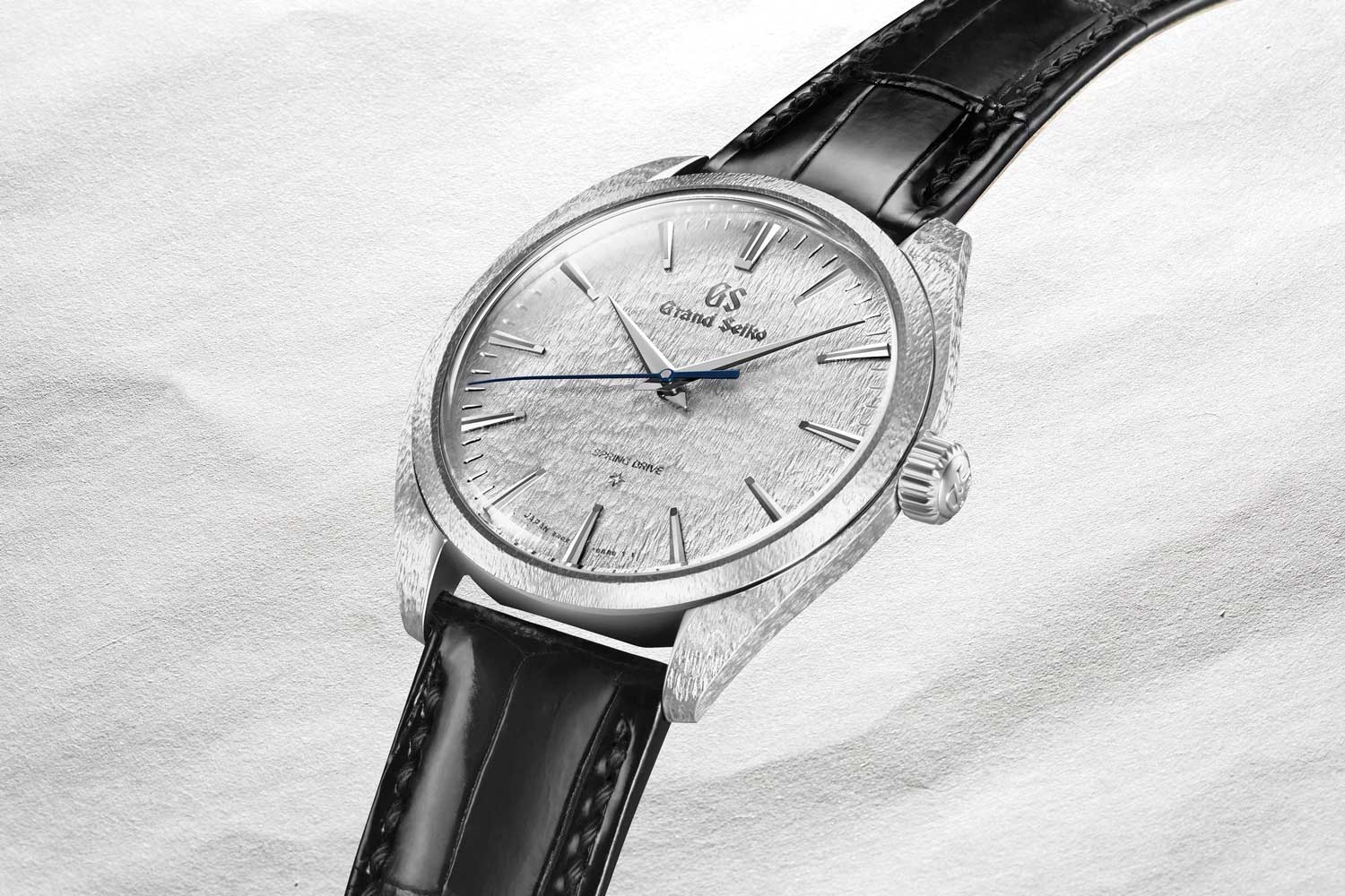 """Grand Seiko SBGZ001 with """"hammered"""" case and dial in platinum"""
