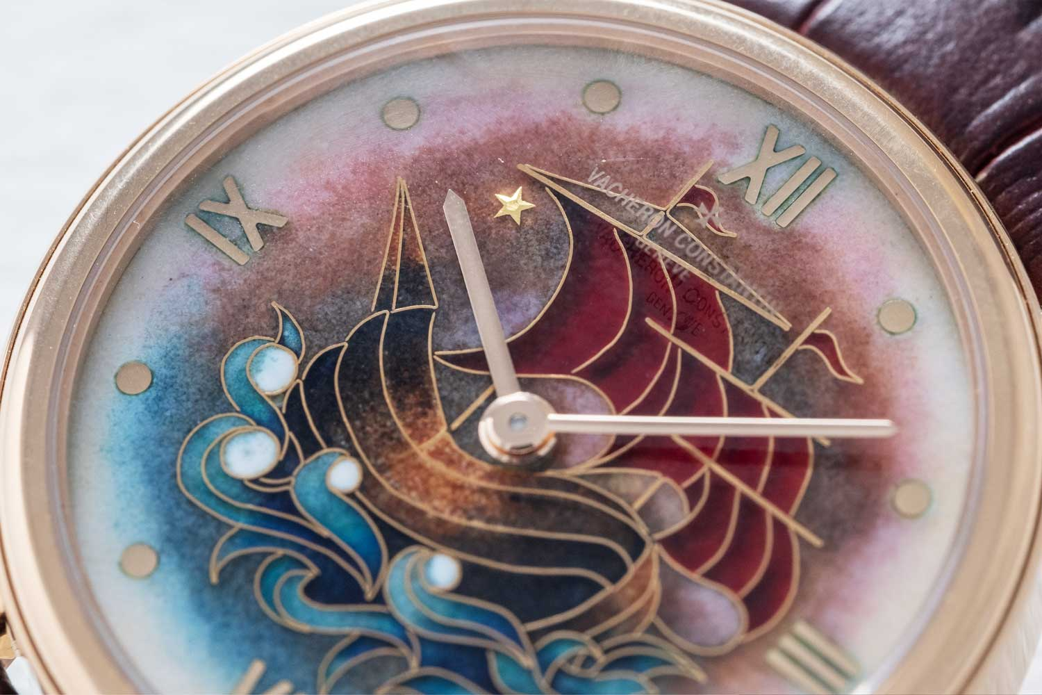 The paillon on the dial of the La Caravelle 1950 depicting the North Star - ref. 1110C/000R-B612 (Image © Revolution)