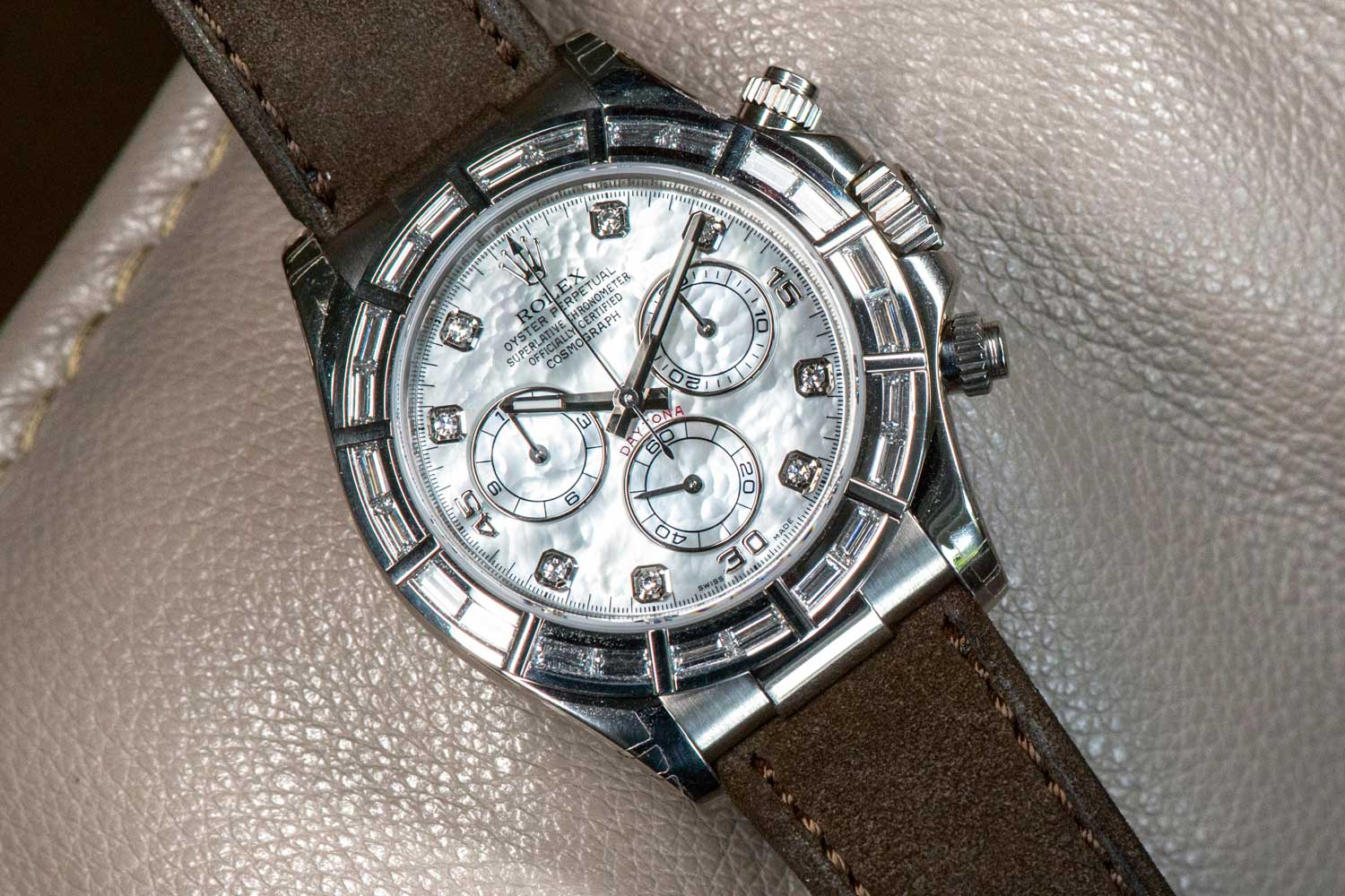 Mother-of-pearl dial Daytona with baguette-cut diamonds