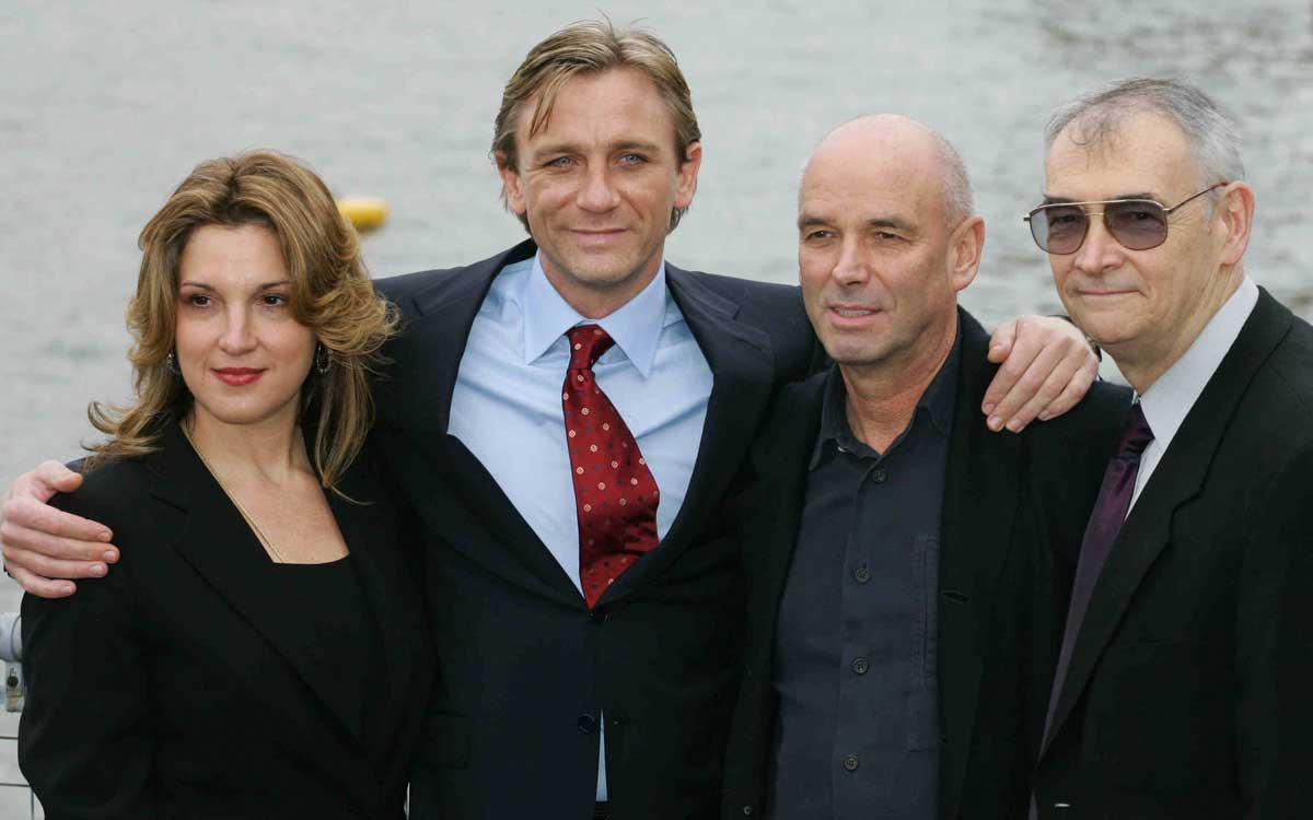 From left Barbara Broccoli of MGM film inc, British actor Daniel Craig, Director Martin Campbell and Producer Michael G Wilson pose on the River Thames, London 14 October 2005. Craig went on to star in a remake of the Bond film Casino Royale, and is latest of a list of actors to play the hero spy. The James Bond character was originally devised by British author Ian Flemming. AFP PHOTO/CARL DE SOUZA. (Photo credit should read CARL DE SOUZA/AFP/Getty Images)