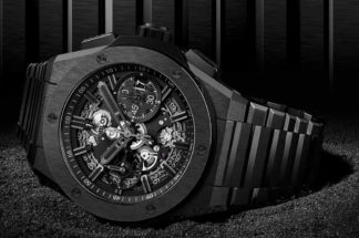 The Hublot Big Bang Integral All Black is one of three Hublot Big Bang timepieces with an integrated bracelet, the first for the brand.