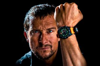 Luminox partners Bear Grylls, seen here with the Survival 3740 Master Series with orange strap.