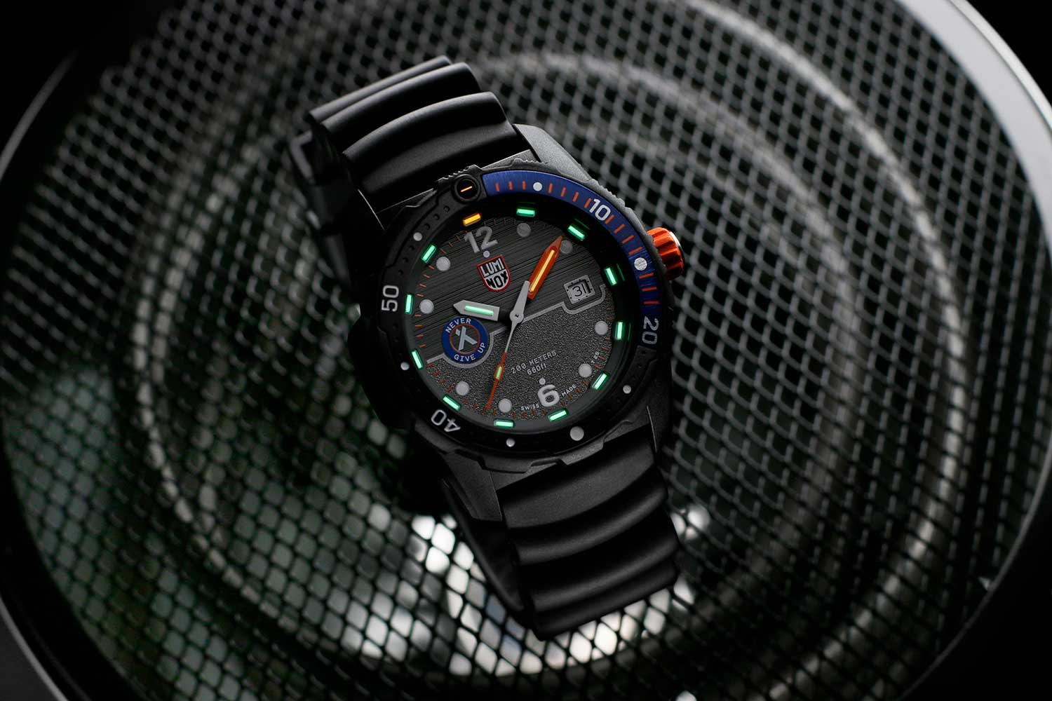 """The Luminox Bear Grylls Survival 3720 Sea Series diving watch comes with a two-textured dial and the """"Never Give Up"""" motto of the outdoor adventurer."""