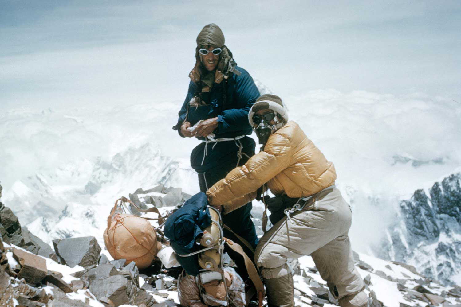 Sir Edmund Hillary and Tenzing Norgay climbing Mount Everest in 1953