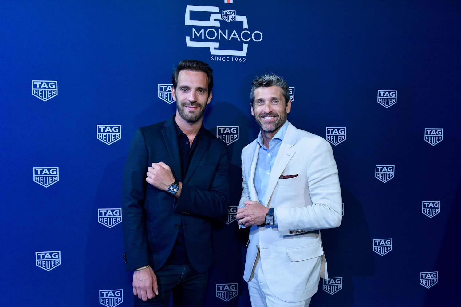 French Formula E driver Jean-Éric Vergne with Patrick Dempsey.