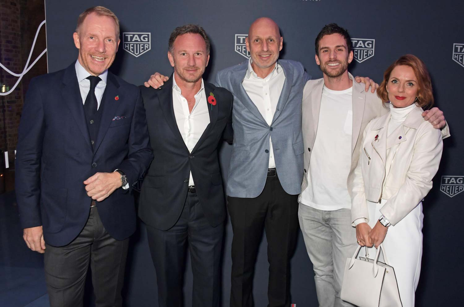 Bianchi with Rob Diver, Christian Horner, Guy Berryman and Geri Horner at the Chucs Serpentine, London.