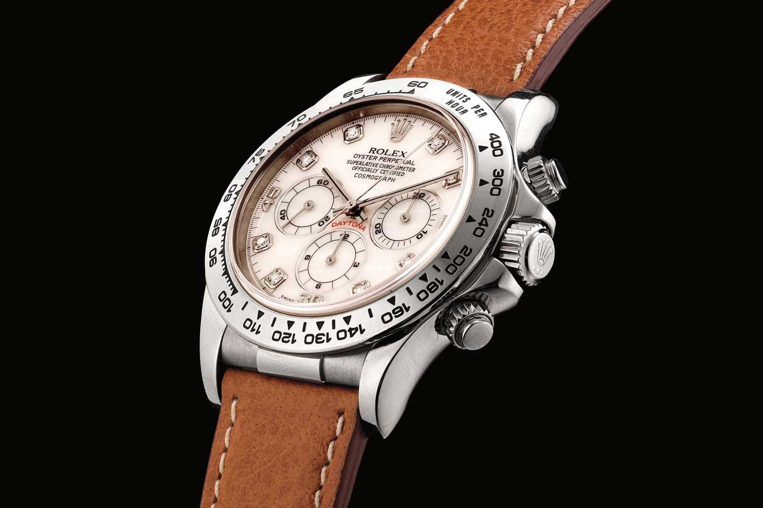 1998 Daytona ref. 16519, white gold and diamond-set chronograph wristwatch with mother-of-pearl dial (Image: phillips.com)
