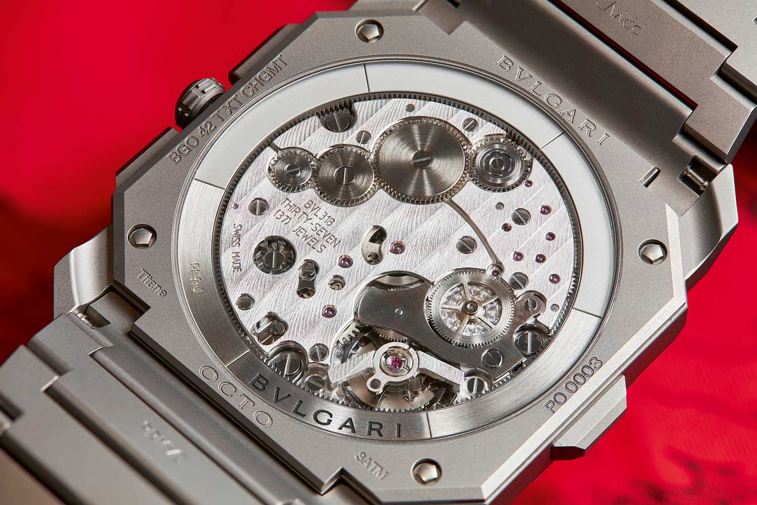 The automatic BVL 318 movement with periphery rotor powering the Octo Finissimo Chronograph GMT Automatic visible through its caseback (Image © Atom Moore)