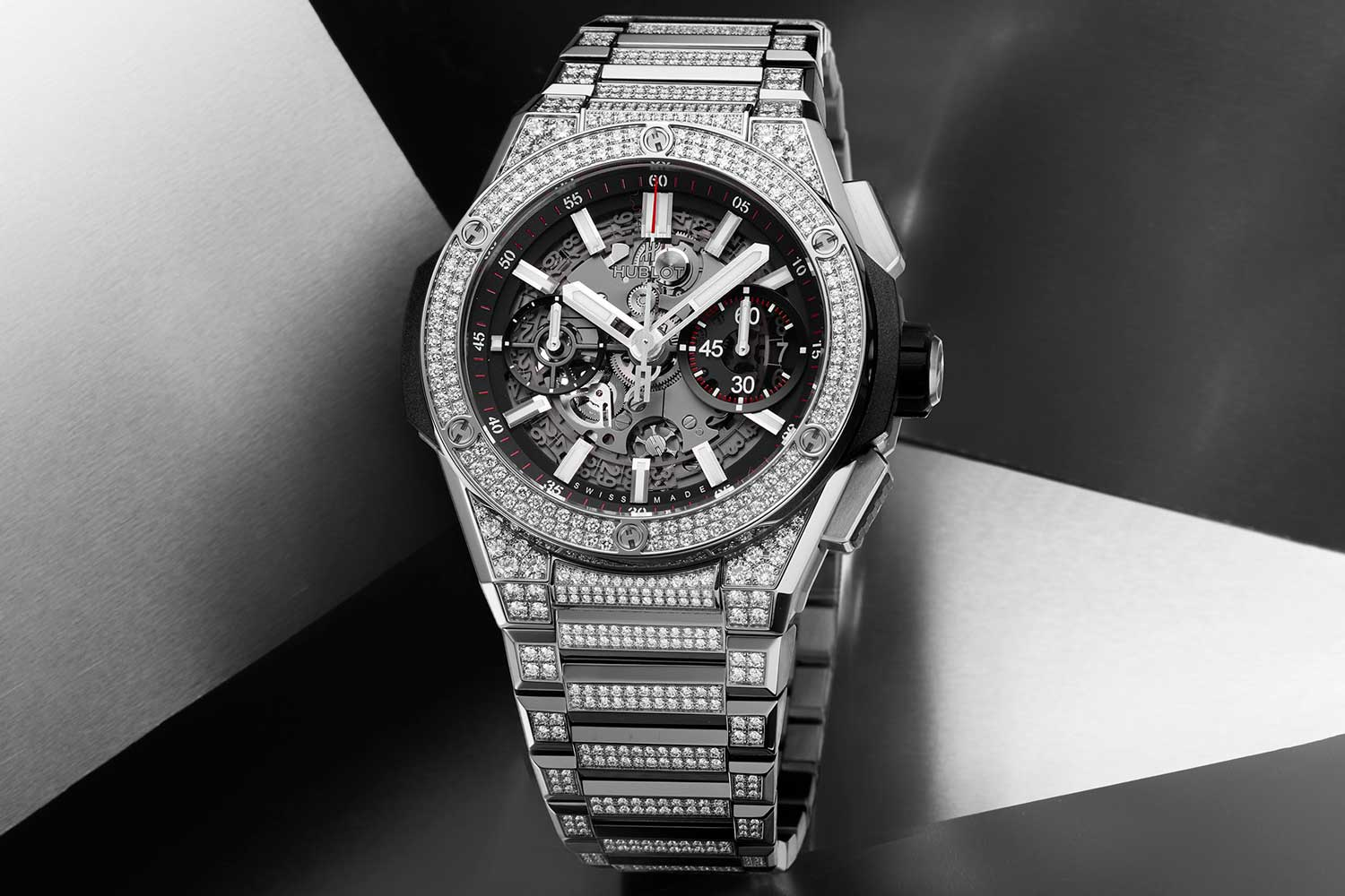 The Hublot Big Bang Integral Titanium Pavé is impressive with a pave diamond setting on titanium, with a fully integrated bracelet and case.