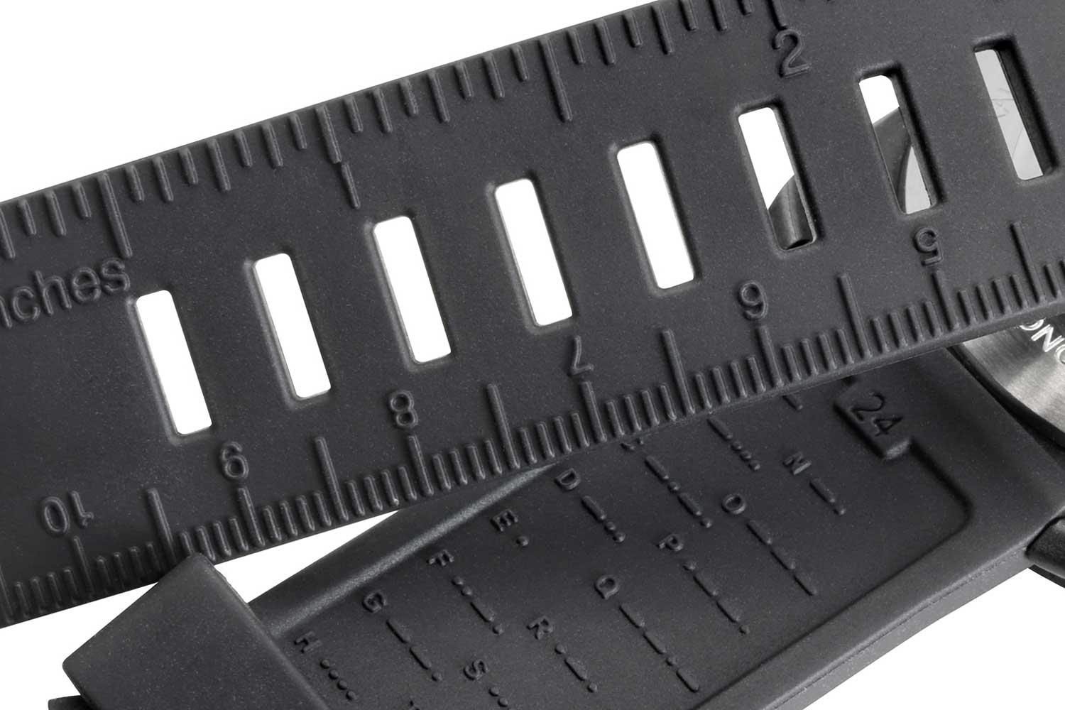 The rubber strap for the Survival series features a ruler as well as a Morse code decoder, useful for emergencies.