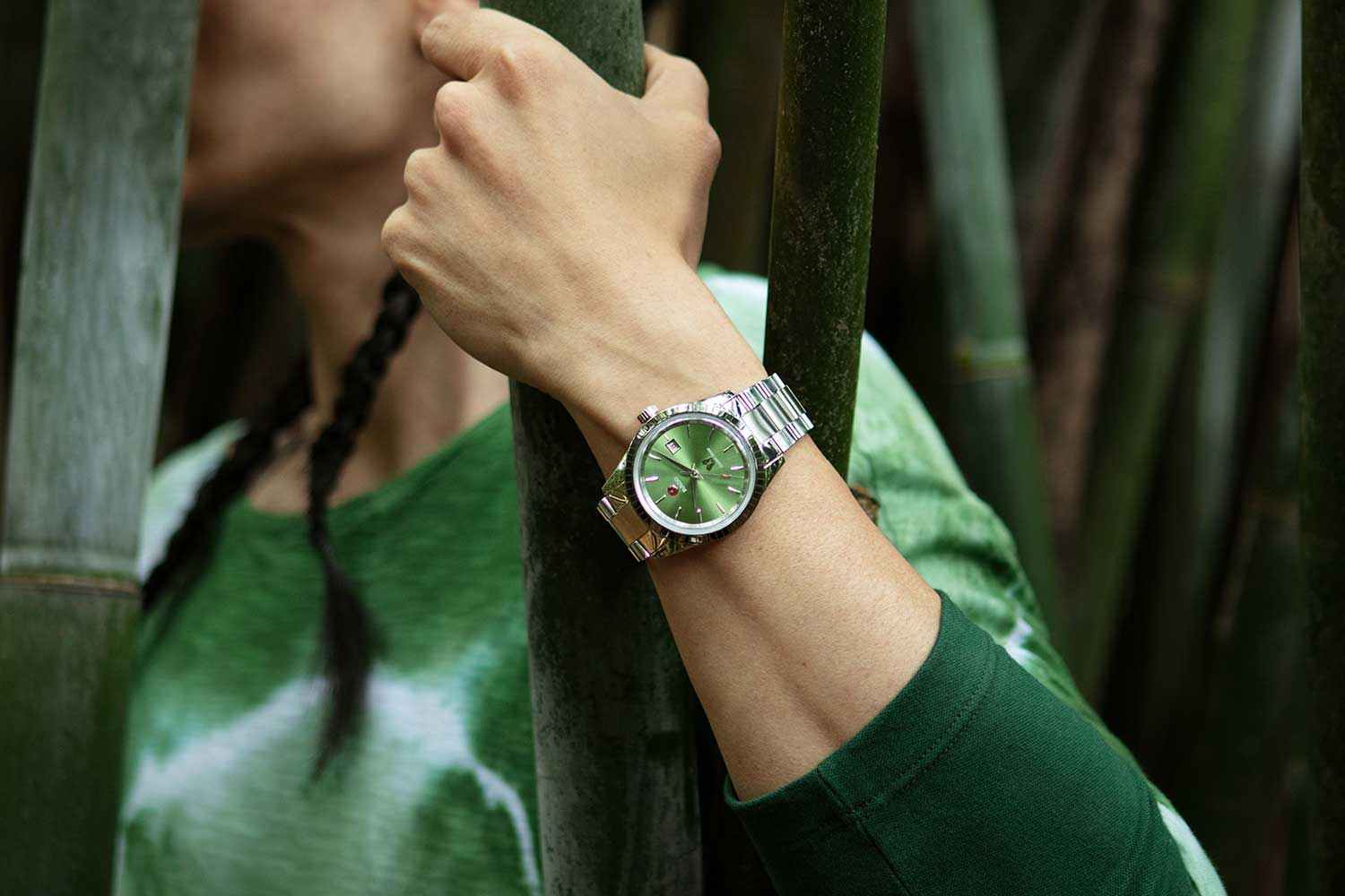 The Rado Golden Horse in green dial. The campaign for this year is wholly lifestyle and embracing of nature. Spot on.