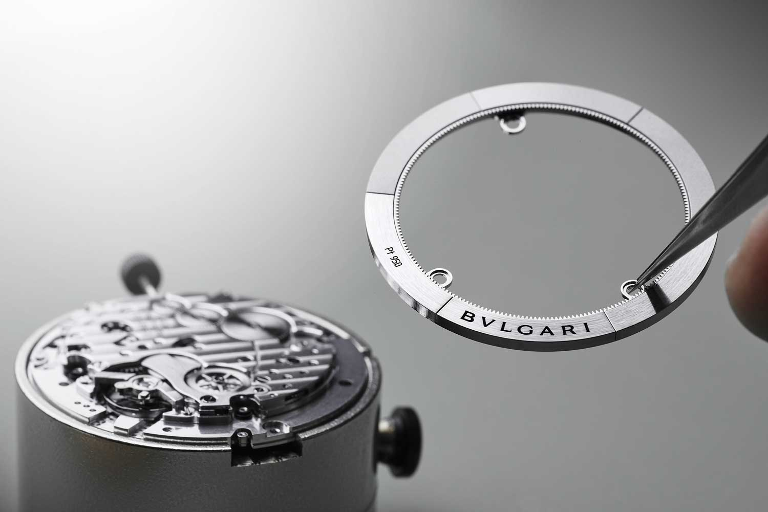 The platinum and aluminum periphery rotor of the BVL 318 movement powering the Octo Finissimo Chronograph GMT Automatic