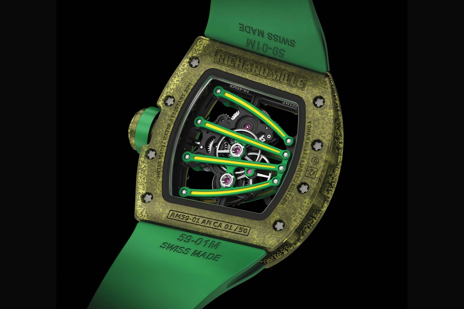 "RM 59-01 Tourbillon Yohan Blake, developed by Richard Mille in partnership with Yohan Blake, featuring dramatic bridges across the movement that evoke the claws of ""The Beast""!"