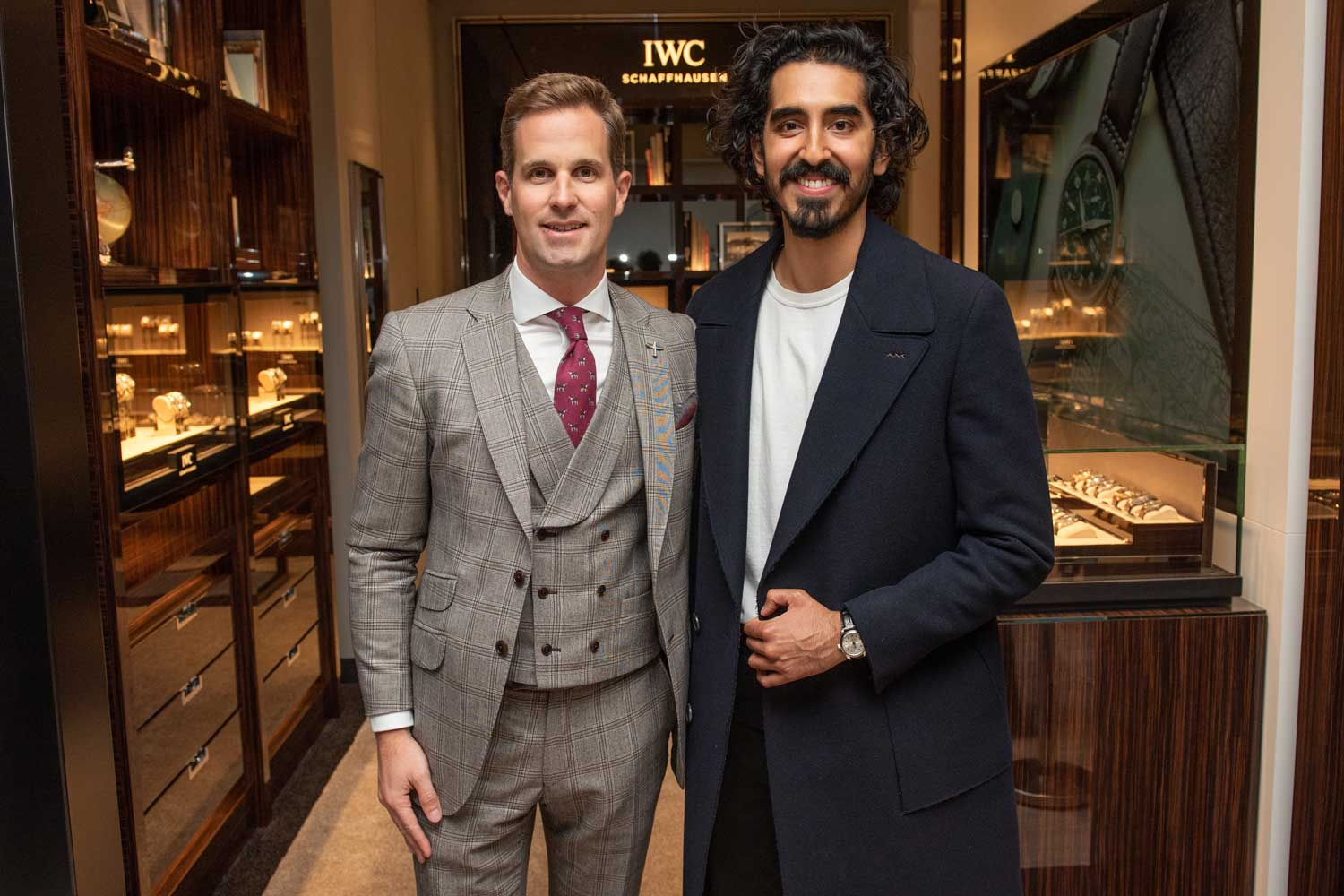 Patel with IWC CEO Christoph Grainger-Herr at the IWC boutique in London.