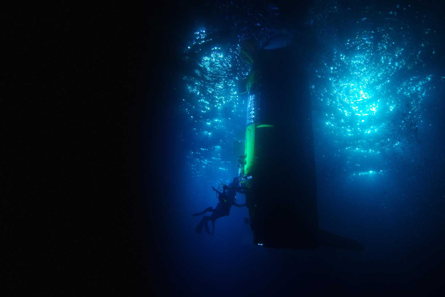 James Cameron's DEEPSEA CHALLENGER submersible on a test dive in Papua New Guinea