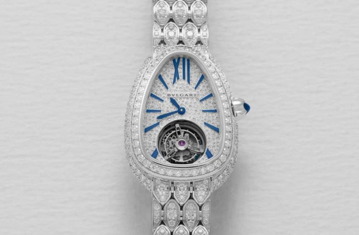 Bulgari Serpenti Seduttori Tourbillon in white gold with paved diamond bracelet (Image © Revolution)