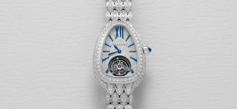 Bulgari Serpenti Seduttori Tourbillon in white gold with paved diamond bracelet (Image © Revolution)