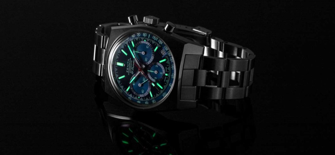 "The glowing face of the Zenith x Revolution Chronomaster Revival Ref. A3818 ""Cover Girl"" (Image © Revolution)"