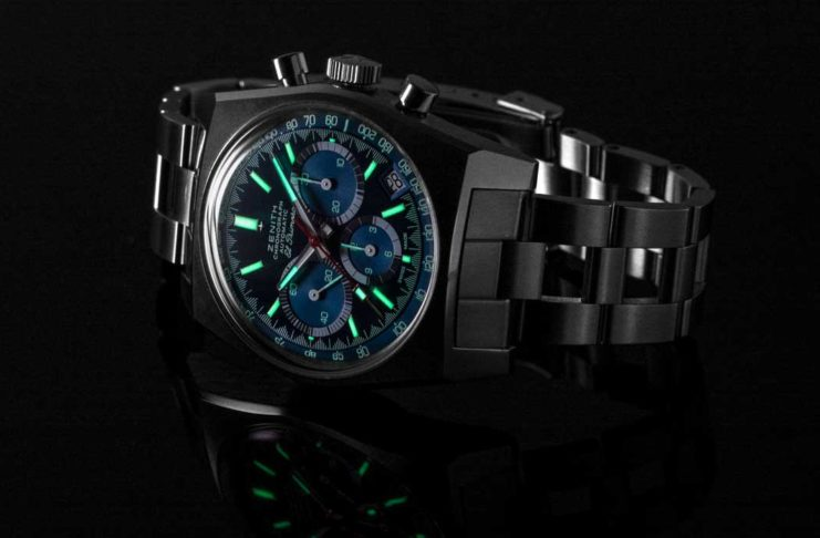 """The glowing face of the Zenith x Revolution Chronomaster Revival Ref. A3818 """"Cover Girl"""" (Image © Revolution)"""