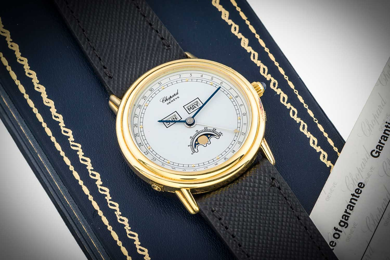 A triple date moonphase watch by Chopard from 1990. Chopard began creating such timepieces from 1984 onwards. (Image by Antiquorum)