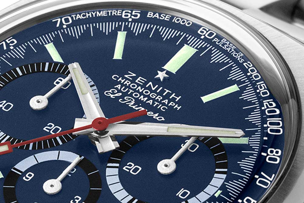 "Chronograph scale markings on the A3818take on a ""shark tooth"" form, totalling 300 white lines; along with the space between each marking, there are 600 divisions on the chronograph scale, which is line with the El Primero chronograph's ability to measure time to 1/10th of a second; the scale itself makes up for an unusual combination of a pulsation and tachymeter scale (Image © Revolution)"