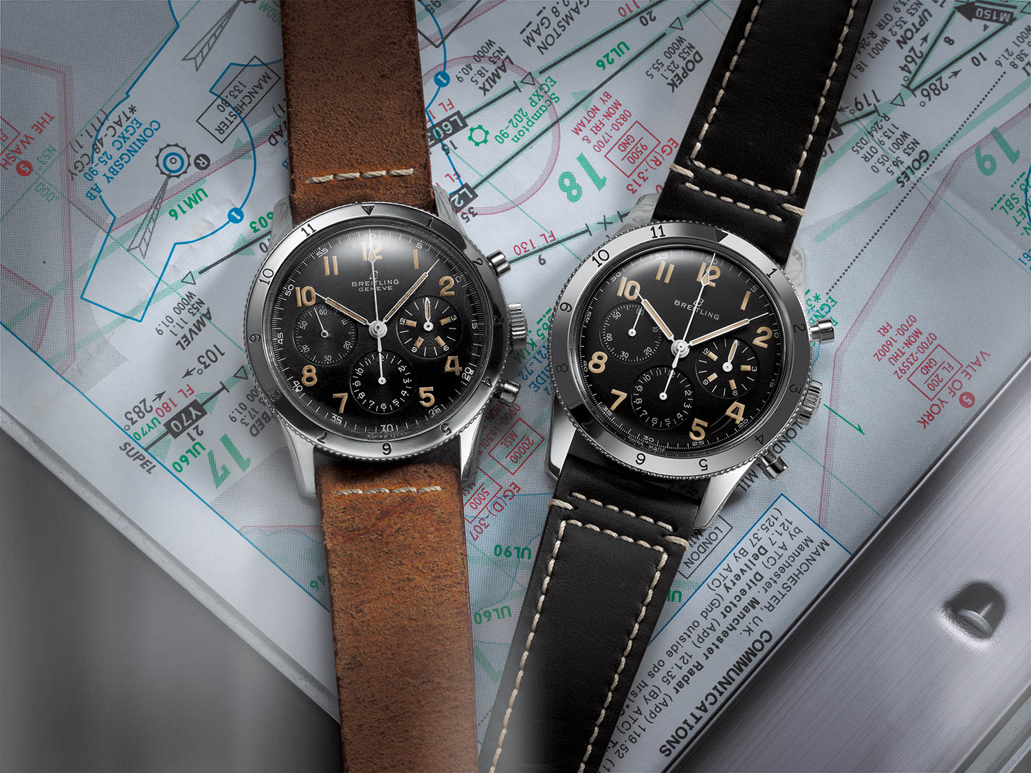 (L-R) A 1953 original next to the new Breitling AVI Ref. 765 1953 Re-Edition